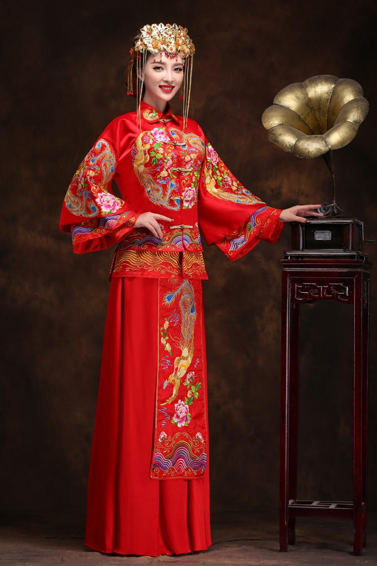 2015秀禾服新娘礼服中式长款结婚古装嫁衣喜服牡丹刺绣龙凤褂