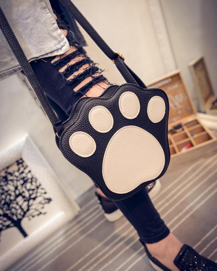 【潮货集结】2016韩版新款萌宠猫爪印可爱斜跨小包