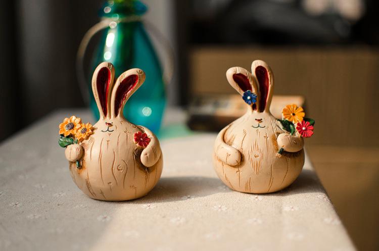 解忧zakka可爱大蒜兔萌兔树脂摆件创意礼品情人节生日礼物