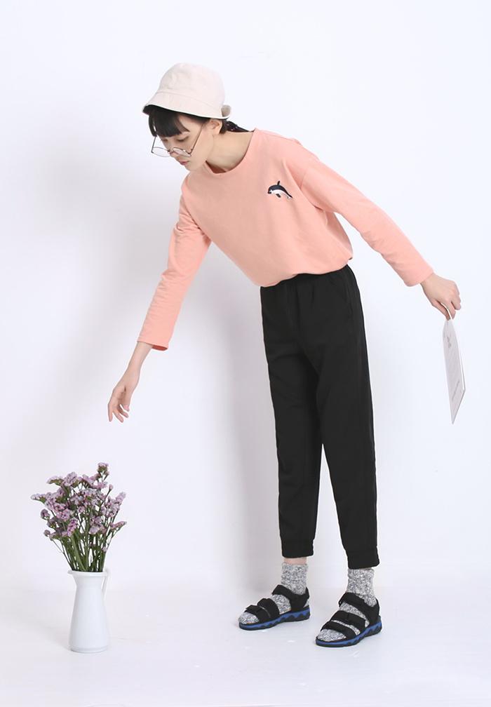 cm家~日系海豚刺绣印花t恤