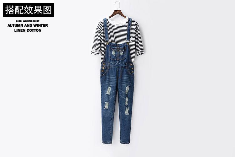 风格:日韩 厚薄:普通 裤长:长裤 图案:破洞 裤型:背带裤 面料:牛仔布