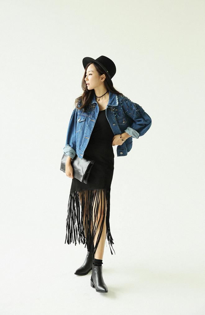 15秋韩国代购时尚女装sz同款手工缝钻落肩时尚个性牛仔外套整体款式图片