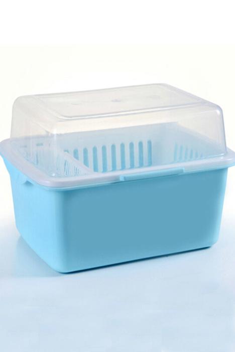 家英带盖欧式沥水碗架 浅蓝色
