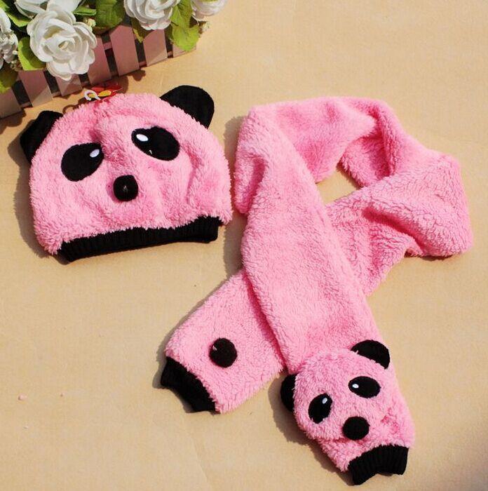 儿童帽子 韩版婴儿帽 秋冬季儿童造型帽熊猫帽宝宝帽子围巾2件
