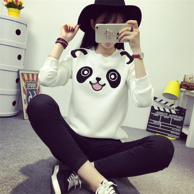 新品 韩版可爱卡通熊猫抓绒套头卫衣