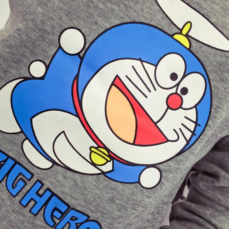 小菇凉 韩版卡通机器猫套头加绒卫衣