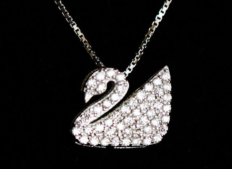 s925纯银饰品可爱小天鹅锁骨项链