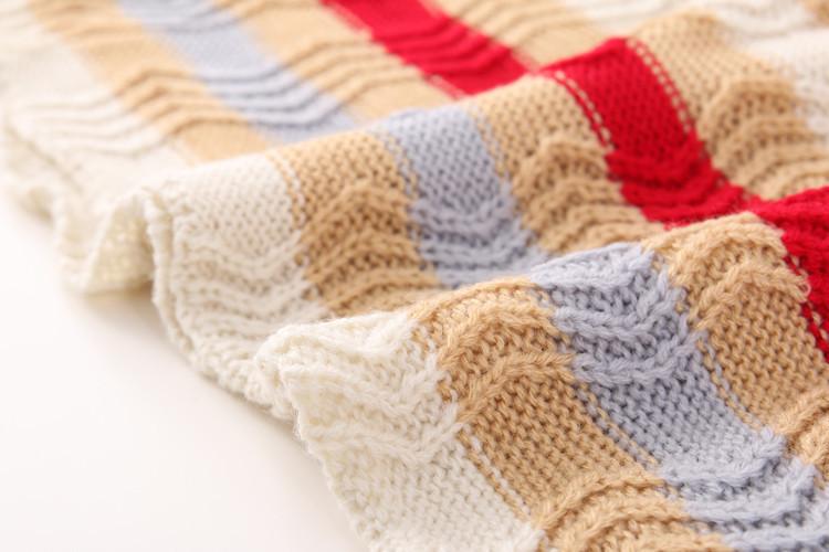 秋季新款韩版时尚彩虹条纹针织背心细节做工