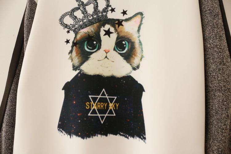 【皇冠猫咪卡通拼色袖卫衣】-衣服-卫衣/绒衫