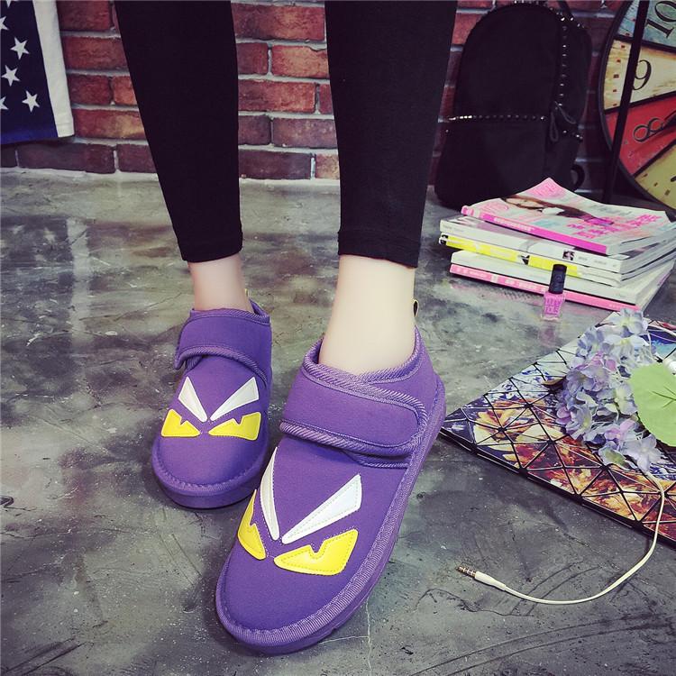 新款可爱时尚小怪兽多色雪地靴