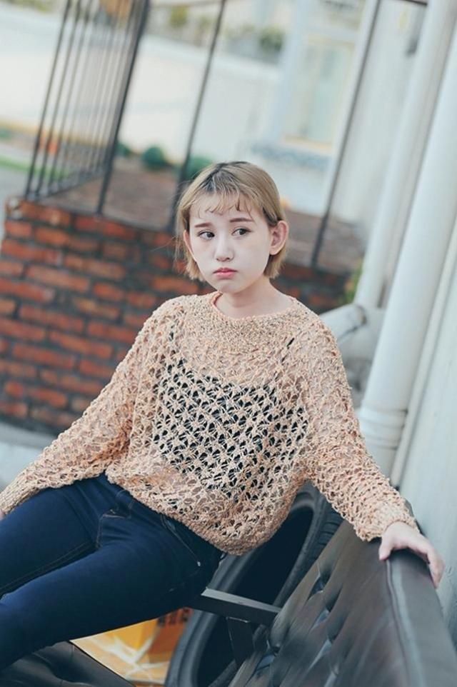 韩版镂空网眼破洞针织罩衫