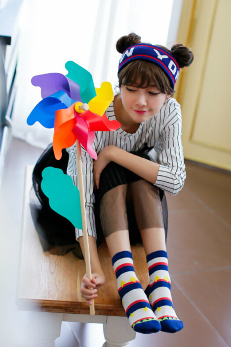 韩国可爱小女孩全棉袜子