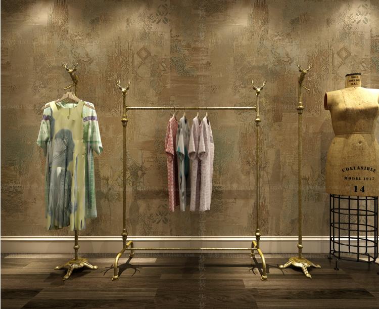 欧式服装店衣架展示架货架 复古中岛女装男装落地铁艺鹿头整体款式