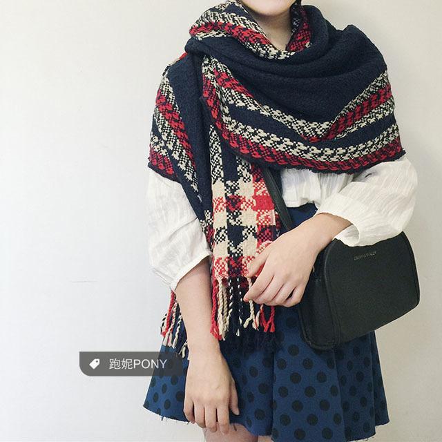 【学院风毛线编织格子围巾披肩】-无类目-配饰