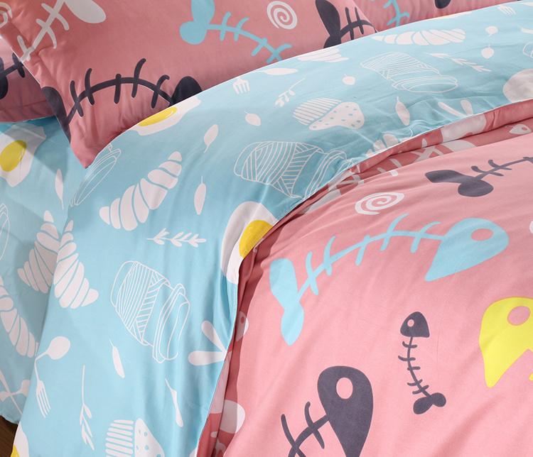 韩版可爱的骨头美棉磨毛加厚四件套