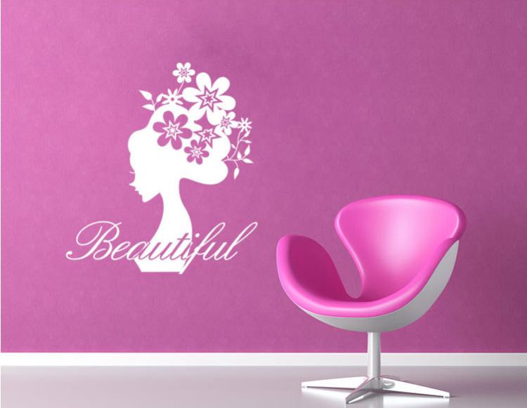 【爱饰】花仙子欧美墙贴 客厅卧室背景墙纸 防水移除包邮