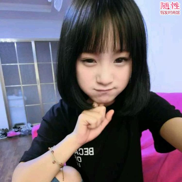 韩国女生假发空气刘海bobo头蓬松自然短直发学生头中长发假发