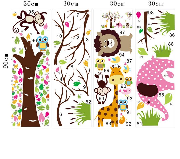 】猴子大象森林动物墙贴儿童房幼儿园装饰墙-幼儿森林动物主题画