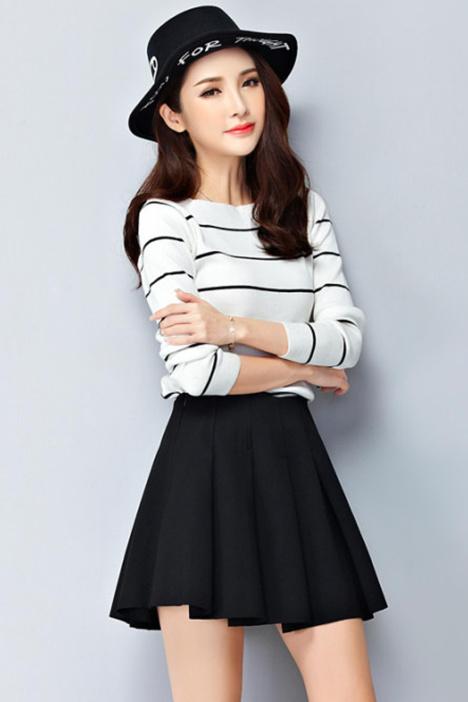时尚半身裙  针织衫套装