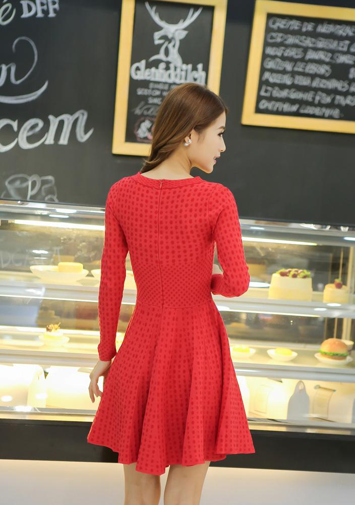 【针织红色连衣裙】-衣服-裙子