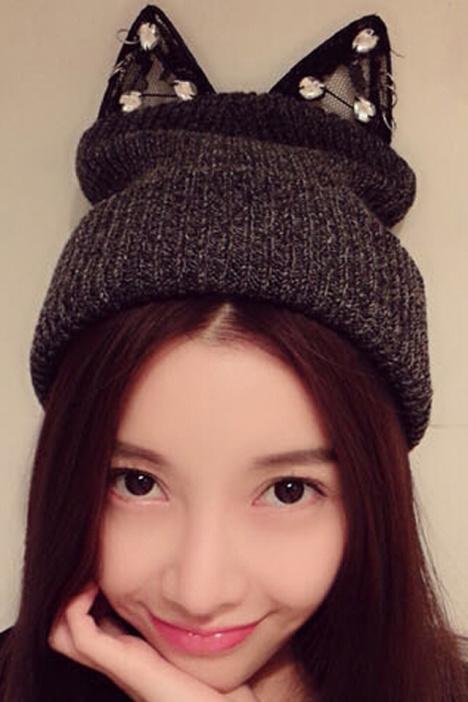 冬季可爱猫耳朵针织毛线帽子