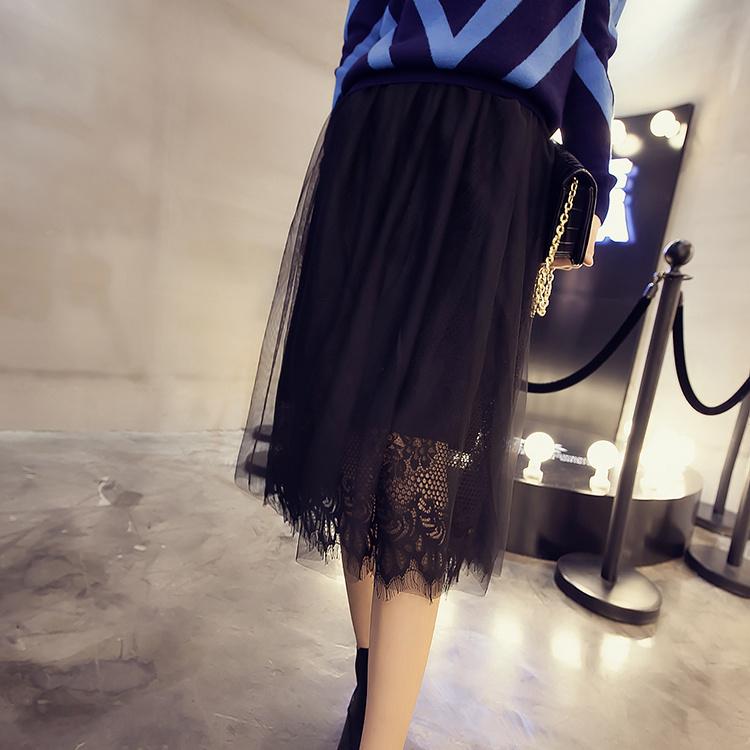 【蕾丝边双层纱网半身长裙】-衣服-半身裙_裙子_服饰
