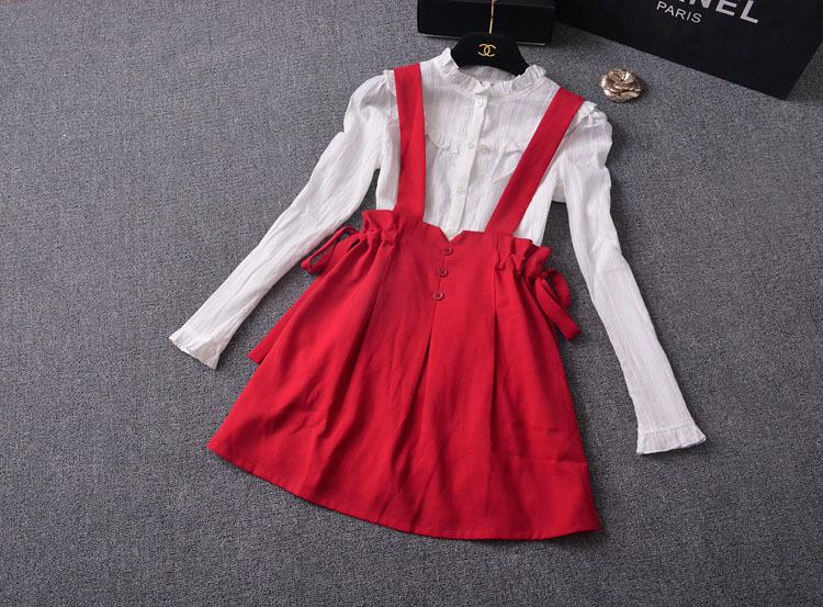 【花边衬衫+蝴蝶结红色背带裙套装】-衣服-套装/学