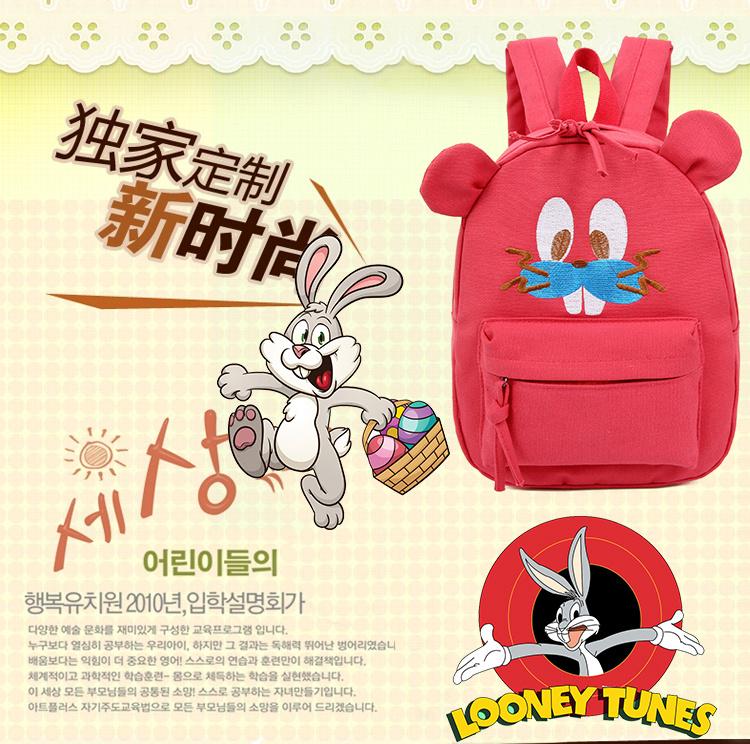 可爱童趣刺绣兔八哥双肩包