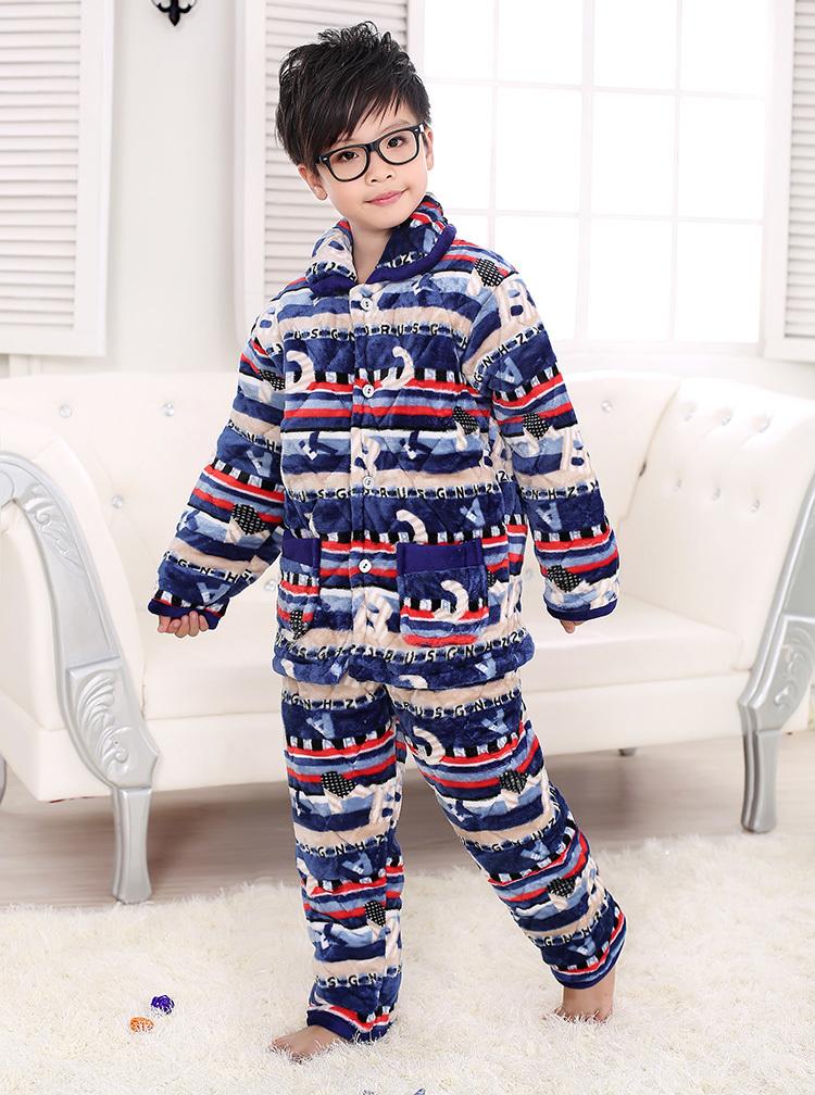 2015冬季新款宝宝长袖法兰绒夹棉儿童睡衣