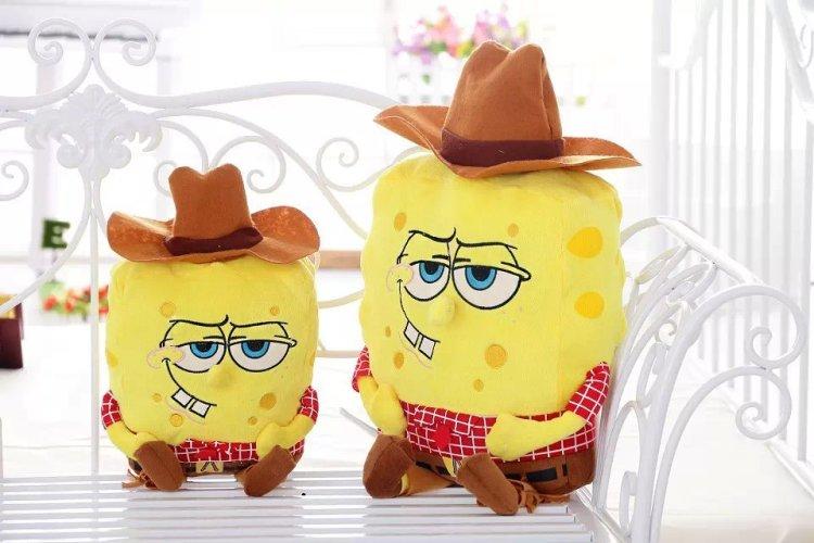 正版 立体海绵宝宝 毛绒玩具 公仔 抱枕 靠垫 牛仔帽款