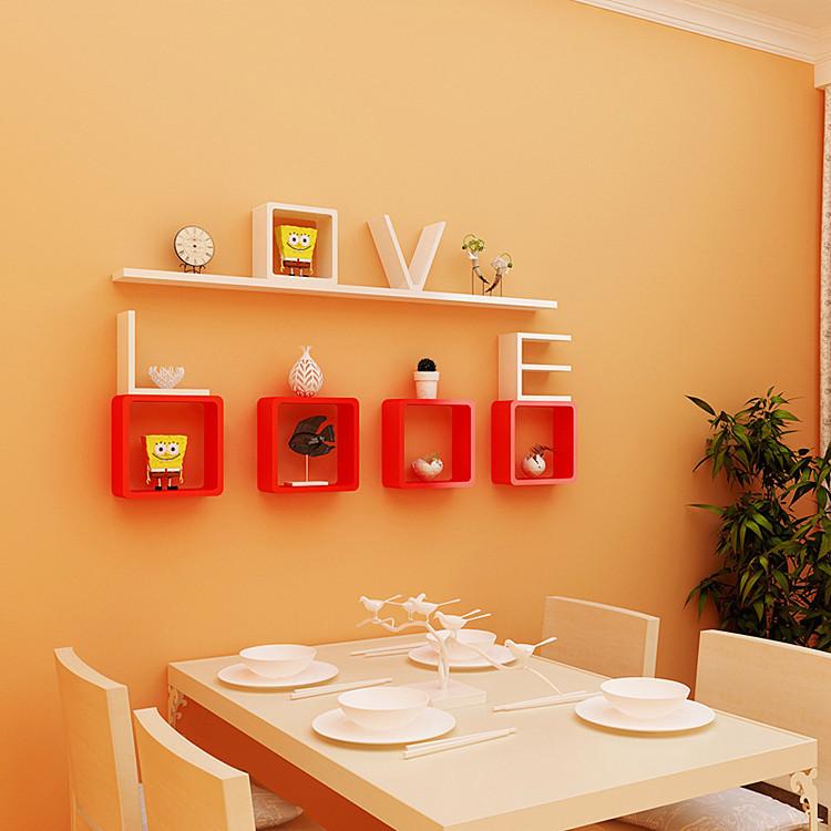 【创意格子隔板装饰架书架壁挂木板墙架壁架搁板墙婚