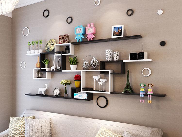 【木质烤漆置物架客厅卧室沙发背景墙创意搁板装饰架