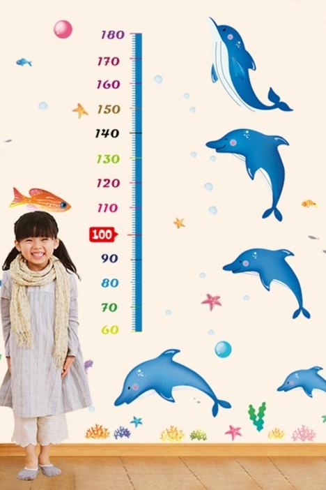 【卡通海洋世界可爱海豚身高贴】-家居-贴饰