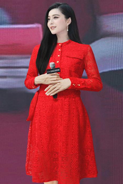 【范冰冰明星同款红色蕾丝连衣裙】-衣服-裙子