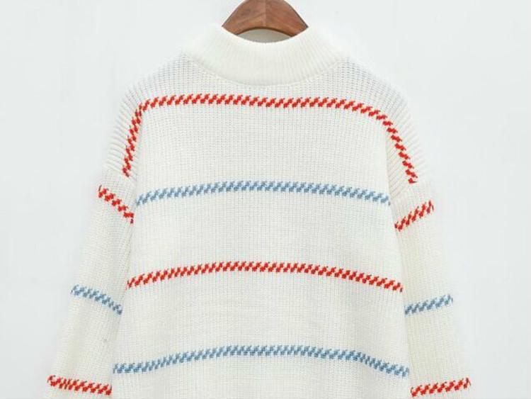 韩国新款iu李智恩同款彩虹条纹毛衣