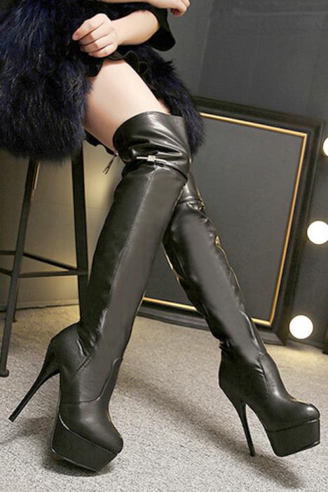纯黑色细跟性感过膝长筒靴