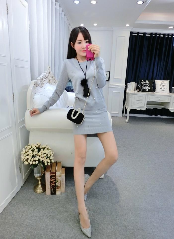 【秋冬小香风长袖针织 包臀半裙两件套】-衣服-服饰鞋