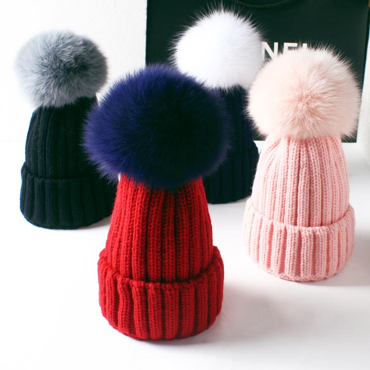 新款秋冬加厚纯色亲子狐狸毛球针织帽