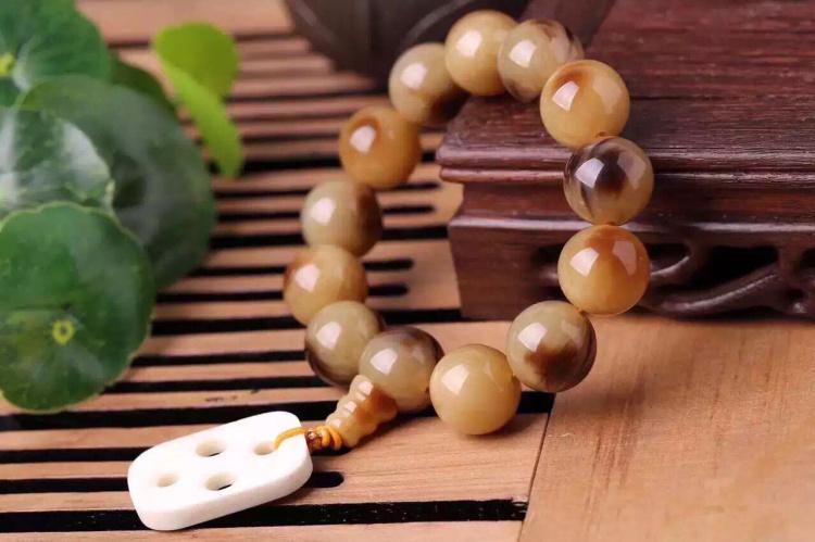 牛角圆珠手串男款配饰象牙果雕刻路路通串珠手链文玩饰品
