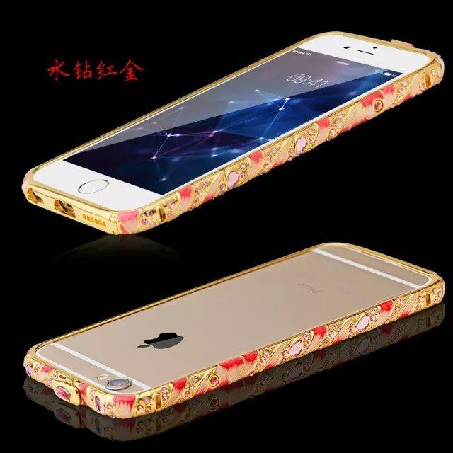 景泰蓝iphone6splus水钻手机壳镶钻金属边框5s彩陶