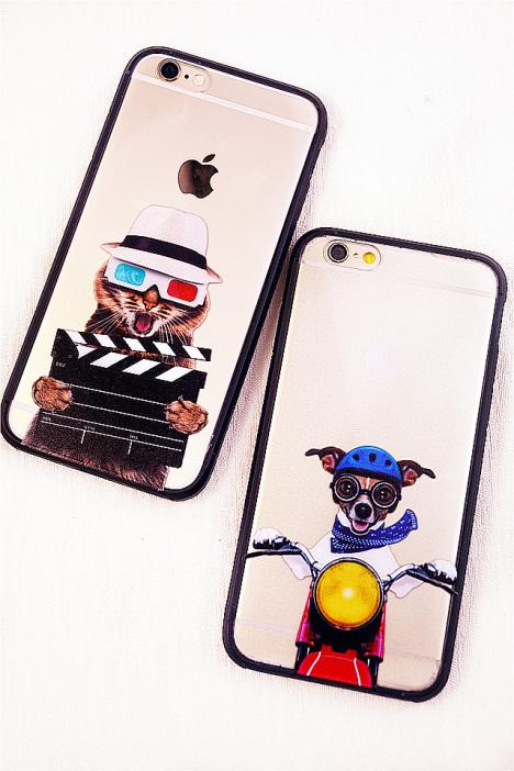 个性涂鸦猫狗苹果手机壳