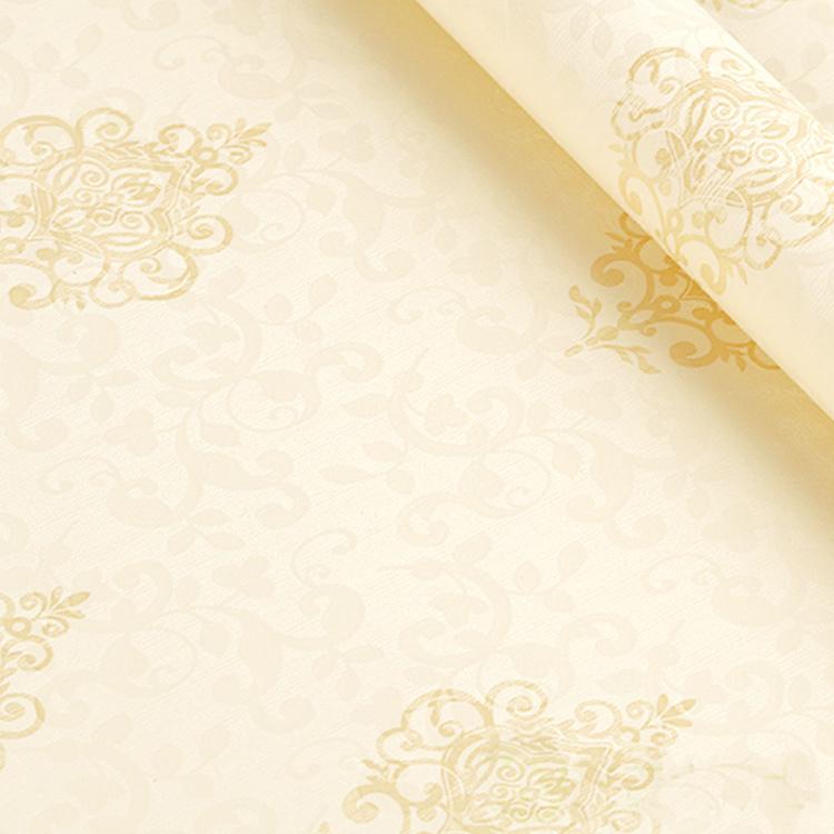 【【简一】自粘墙纸欧式中式现代米黄色花朵壁纸-5米