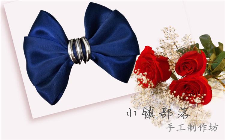 15年秋季时尚新品头花手工制作藏青色简单大方蝴蝶结发饰套装