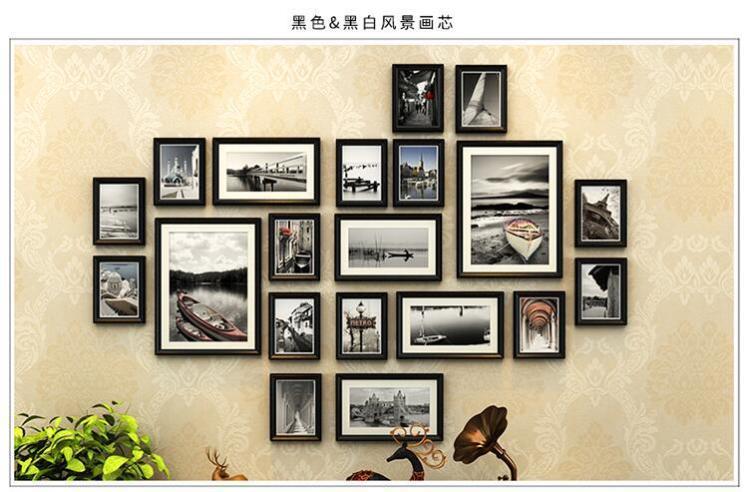 【客厅相框墙欧式实木照片墙