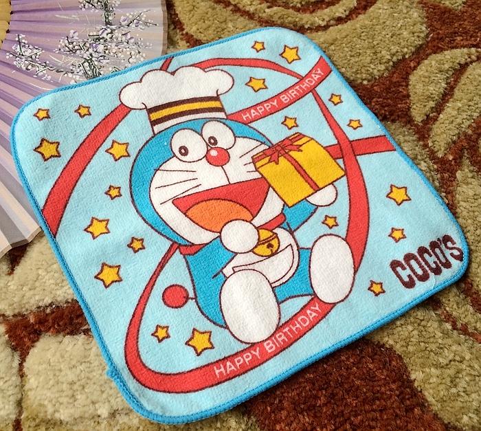 外贸机器猫纯棉手帕 哆啦a梦小叮当的礼物盒擦嘴巾 卡通小方巾