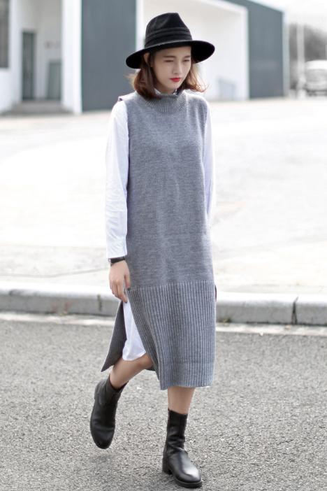 【冬季新品毛线针织背心长裙】-衣服-连衣裙_裙子__鞋