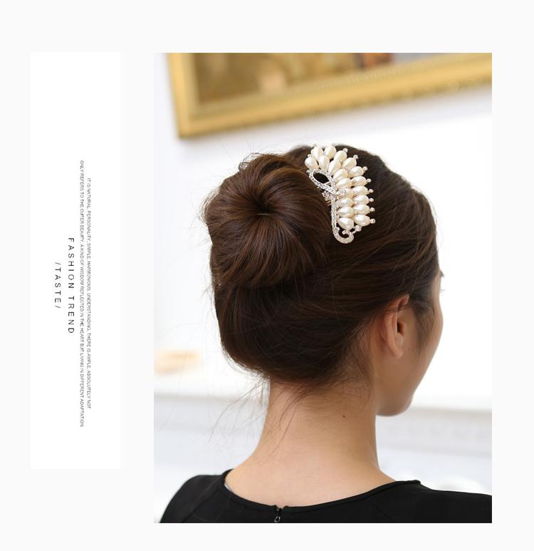 多款可选 水晶花u型夹发簪发插五齿发梳盘发器图片