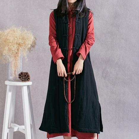 隐墨 中国风女装文艺复古棉麻盘扣长款马甲背心外套