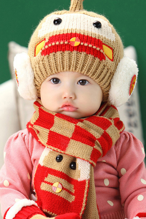二件套儿童帽子围巾 宝宝毛线帽冬季新款 韩版针织帽