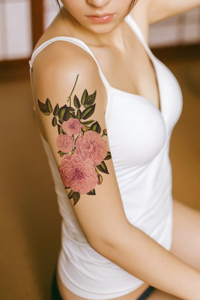 【纹身贴防水女 肩部手臂玫瑰花朵花臂玫瑰纹身贴假